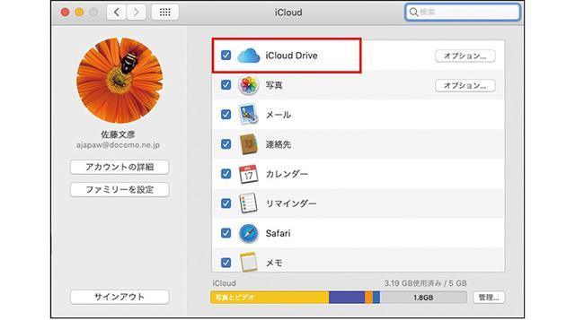 画像: 画面左上のアップルメニューから「システム環境設定」を選び、現われた画面の「iCloud Drive」にチェックを入れる。