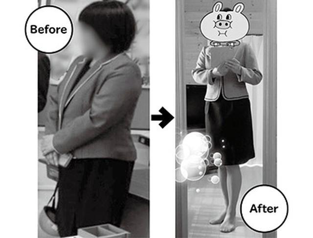 画像: ダイエット前と現在。洋服のサイズも21号から13号に変わった