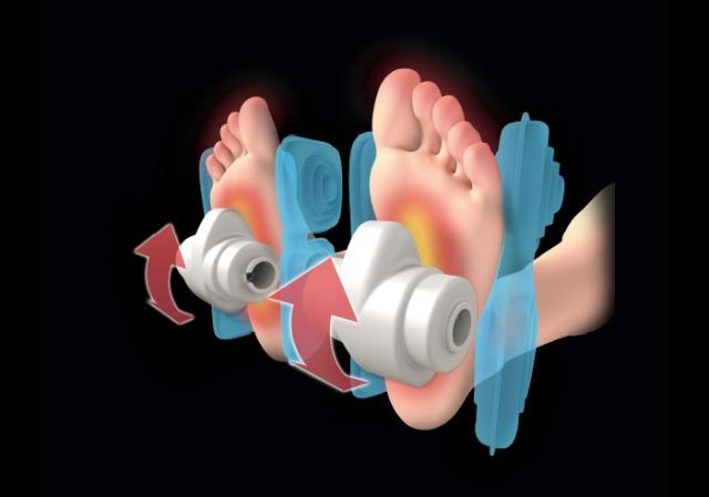 画像: プロのマッサージ師が足裏を指圧する際に手で足を固定してから行うように、エアーバッグで足首と甲をホールドした後、専用ローラーが足裏全体を集中的にマッサージ。 www.fujiiryoki.co.jp