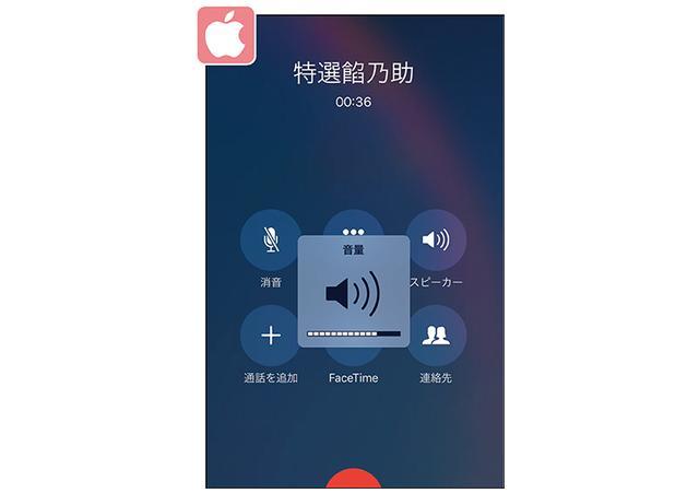 画像: 音量調節ボタンを押すと、現在の音量レベルが画面に表示される。本体から顔を離して通話したい場合は、「スピーカー」のアイコンをタップする。
