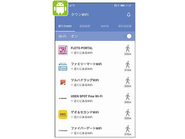 画像: 「タウンWiFi」(上画面)のようなフリーWi-Fiを検索・管理・自動接続するアプリを使うと、毎回手動で接続操作をする必要がなくなる。