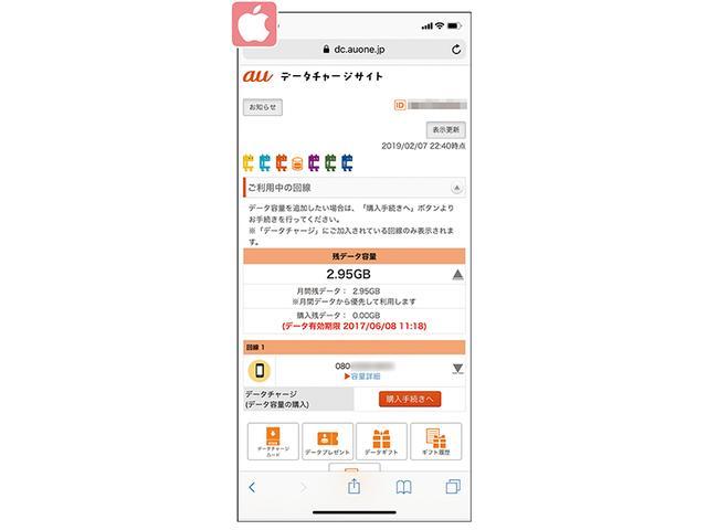 画像: auは「データチャージサイト」(dc.auone.jp)が便利。au IDでログイン後に、その月に使えるデータ残量などを確認できる。