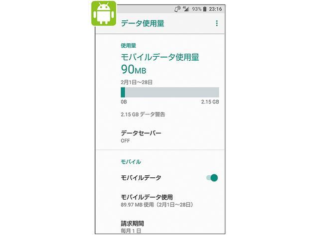 画像: Androidは「設定」→「ネットワークとインターネット」→「データ使用量」で確認可能。月カウントや上限の設定なども行える。