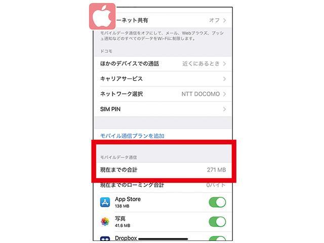 画像: iPhoneは「設定」→「モバイル通信」で、前回にリセットしてから現在までに使ったモバイルデータ通信量を確認できる。
