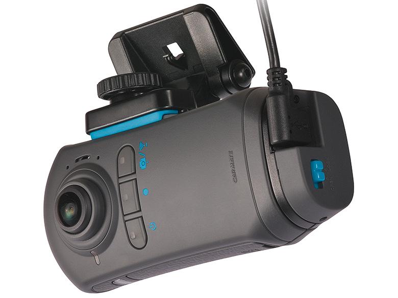 画像: 全天周レンズを前方用と後方用に一つずつ備え、一台で全天球をカバーできるカメラ部を搭載。多彩な映像に対応し、一部分を切り出して正面画像だけを別映像として同時記録することも初めて可能とした。モニターはないが、撮影した映像はWi-Fi接続したスマホで見られ、四つのモードで確認することができる。