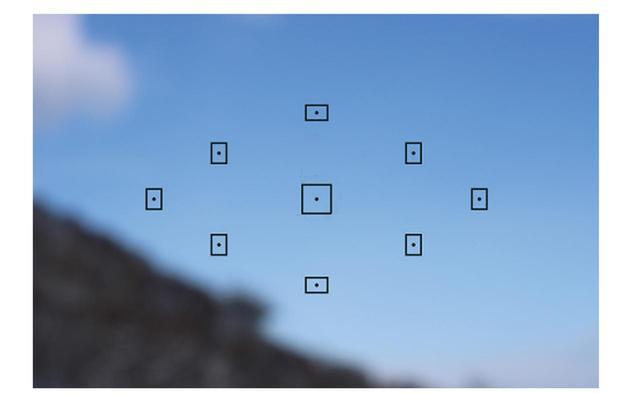 画像: 九つの測距点はひし形配置であるため、こういう画面にするとピントが合わせられない。本当はシャッターが切れないのだが、ここではMFに切り替えて撮った。