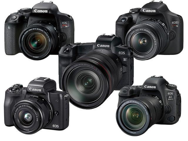 画像: 左上:EOS Kiss X9i、左下:EOS Kiss M、中央:EOS R、右上:EOS Kiss X90、右下:EOS 6D MarkⅡ