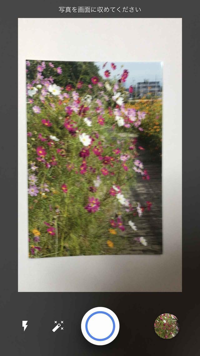 画像: デジタル化したい写真の全体を撮影する。続いて、アプリの指示に従って四隅を撮っていく。