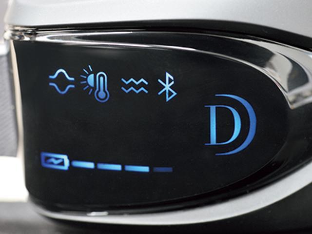 画像: 表示部もスタイリッシュ。上段は選択中のモードを、下段は充電状態を示す。