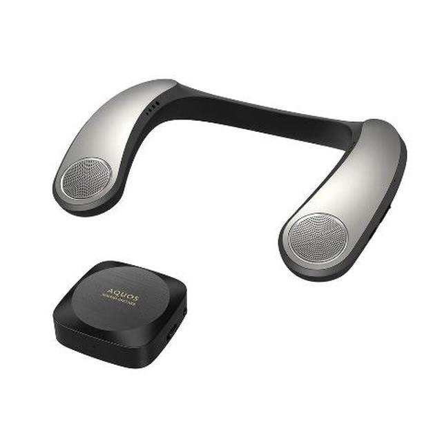 画像: 低音に振動効果が加わるACOUSTIC VIBRATION SYSTEM搭載のシャープ「AQUOSサウンドパートナー AN-SX7A」。Bluetooth送信機もセットとなっている。