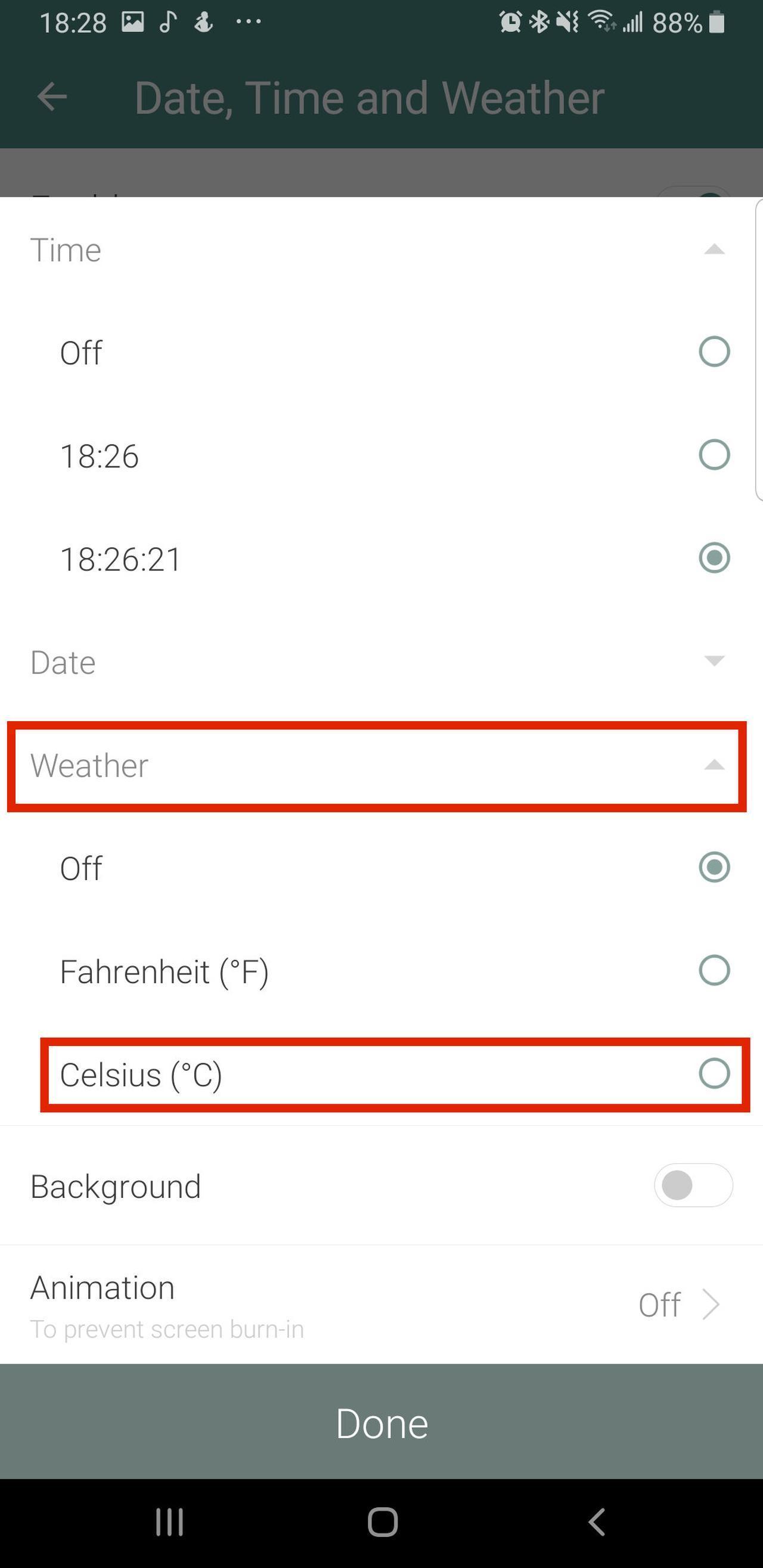 画像5: フォトフレームに日付や時刻、天気予報を表示させる