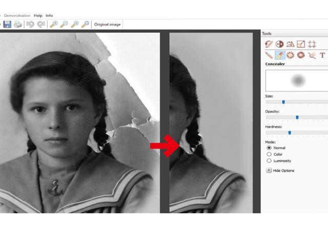 画像: 「Concealer」という機能を使うと、空や壁などシンプルな絵柄の部分であれば、写真の破れを修復できる。