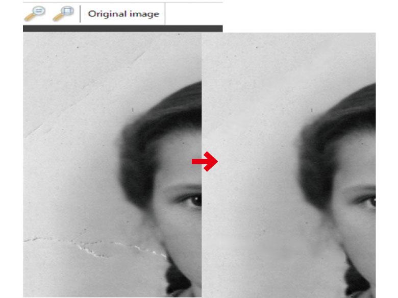 画像: 「ScratchEraser」という機能を使うと、写真の傷を目立たないように修整することができる。
