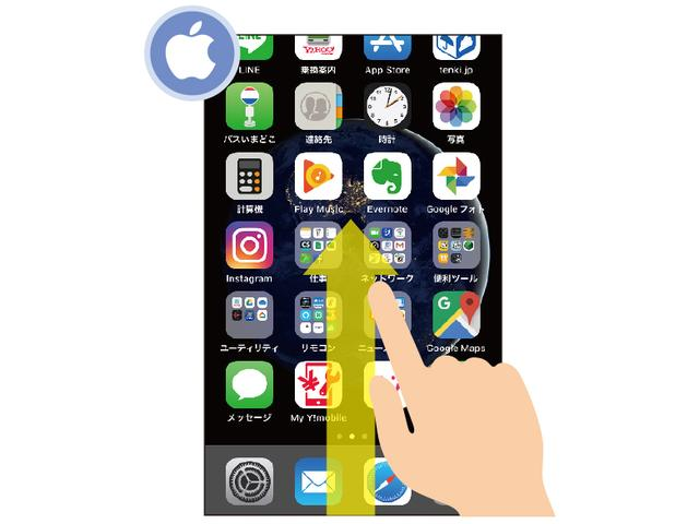 画像: 従来型iPhoneは、ホーム画面の下端から上方向にスワイプする。