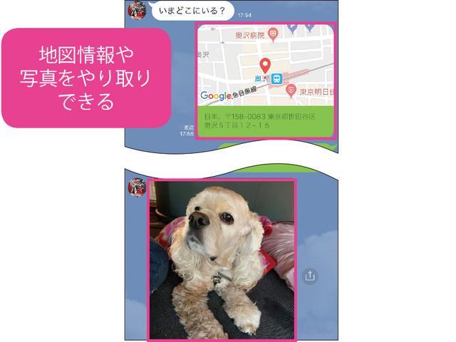 画像: 写真や動画が送信できるのはケータイメールと同じ。地図情報をやり取りできるのは、待ち合わせなどでとても便利だ。