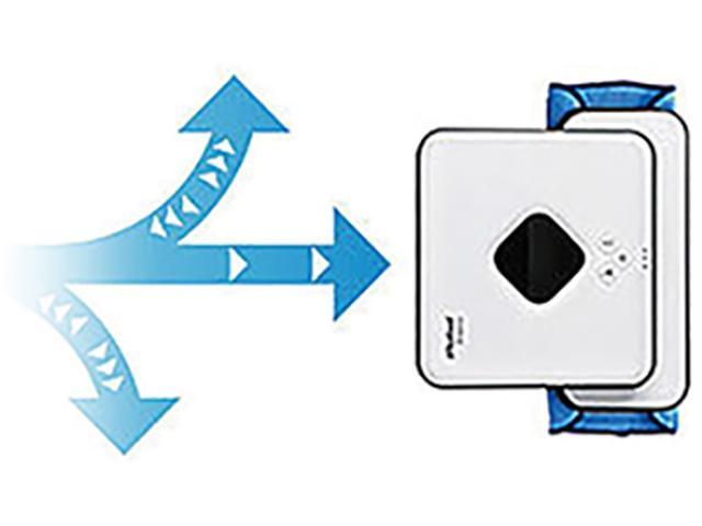 画像: ウエットモード時は、左右に行き戻りしながら少しずつ進み、同じ場所を三度拭きする。一般のロボット掃除機にはない、独自の走行。