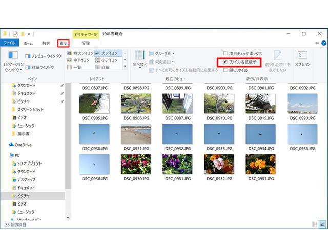 画像: 古くからのWindowsユーザーは、拡張子を表示したいはず。ウインドウ上部のメニューバーで「表示」をクリックし「ファイル名拡張子」にチェックを入れれば表示される。