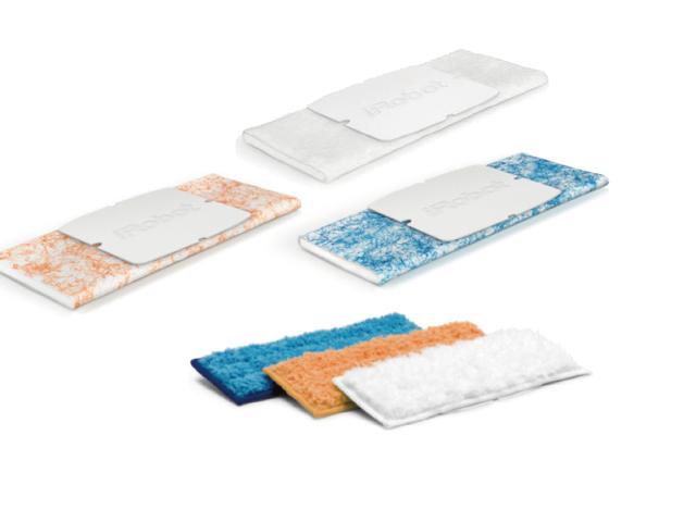 画像: 上:使い捨てパッド(各2枚付属)、下:洗濯可能パッド(別売) 使い捨てパッドは、清掃モードに応じて3種類ある(各950円=10枚入り)。洗濯可能なパッド(4320円=3枚セット)も用意されている。