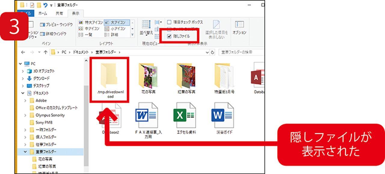画像: 「隠しファイル」にチェックを入れると、ふだんは表示されていないファイルが現れる。不要ファイルの削除や、高度な設定変更の際に有効だ。