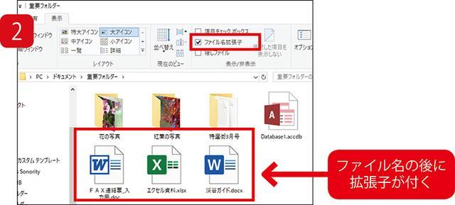 画像: 「ファイル名拡張子」にチェックを入れると、ファイル名の後に拡張子が表示される。どのアプリに対応するかの目安になるので、これは利用したい機能だ。