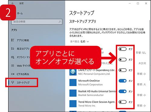 画像: アプリごとにオン/オフを設定可能。起動時間に与える影響も表示される。