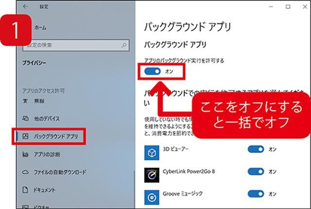 画像: 「プライバシー」の「バックグラウンドアプリ」項目で設定できる。一括オフも可能。