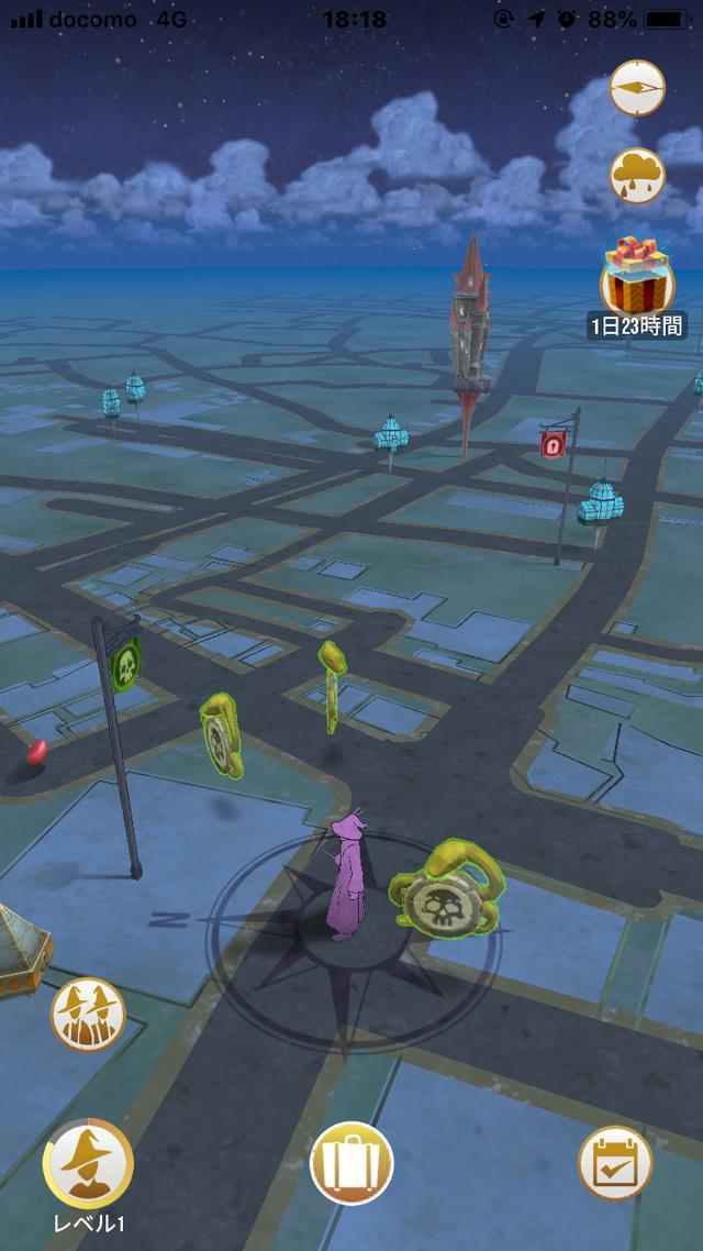 画像: 最初にするのは地図を見ること。この地図画面がゲームのメイン画面となる。この地図は実際にプレーヤーがいる場所の地図である。