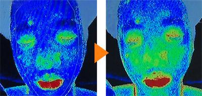 画像: 合谷を刺激する前→顔の中心から血行がよくなった