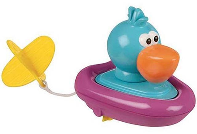 画像: ヒモを引いて水上に浮かせると、本体に内蔵されたタイヤや回転して進む。小さい子供でも遊べるシンプルなおもちゃ。