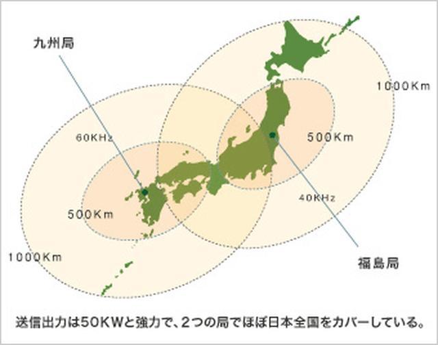 画像: 電波時計が受信する標準電波は福島局と九州局から発信され、北海道から沖縄県まで日本全国をカバーしている。 www.seikowatches.com