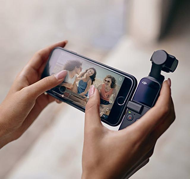 画像: Osmo PocketをiPhoneやAndroidスマホと接続して、HDライブビューや先進的な撮影設定が可能。操作には、専用アプリの「Dji Mimo」を使用する。