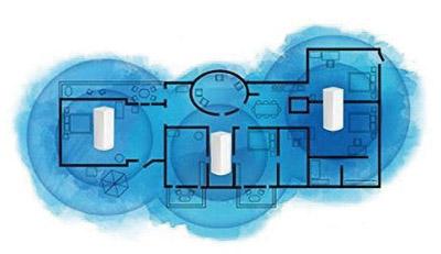 画像: ルーターになる1台と中継機になる2台が自動的に回線を確保して高速回線を維持する。日本の住宅なら3台で家全体をカバー可能。