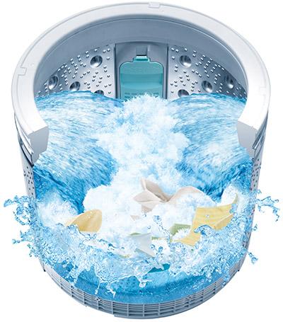 画像: 洗濯物の汚れ具合や生地の割合、液体洗剤か粉末洗剤かなど、洗濯槽内のさまざまな状況をセンシングし、自動的に使用水量や洗濯時間などをコントロールする「AIお洗濯」機能を搭載する。