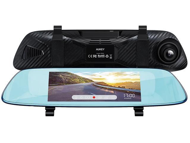 画像1: リアカメラも標準装備したルームミラー型ドライブレコーダー
