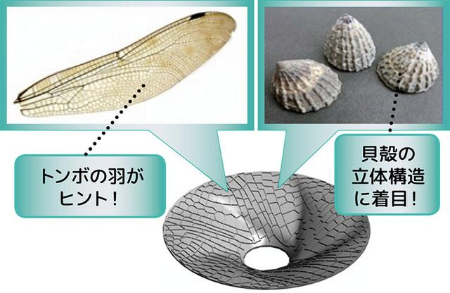 画像: 生物を模倣して製品に生かすことを「バイオミメティクス」という。トンボの羽と貝殻の構造を取り入れ、軽量かつ高剛性化に成功した。