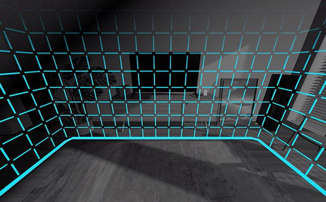 画像: ディスプレイのパススルー機能で、周囲を見ながら動作エリアを決定。擬似的な檻に入ることで周囲の障害物などに触れる心配はない。安心してゲームが楽しめる。