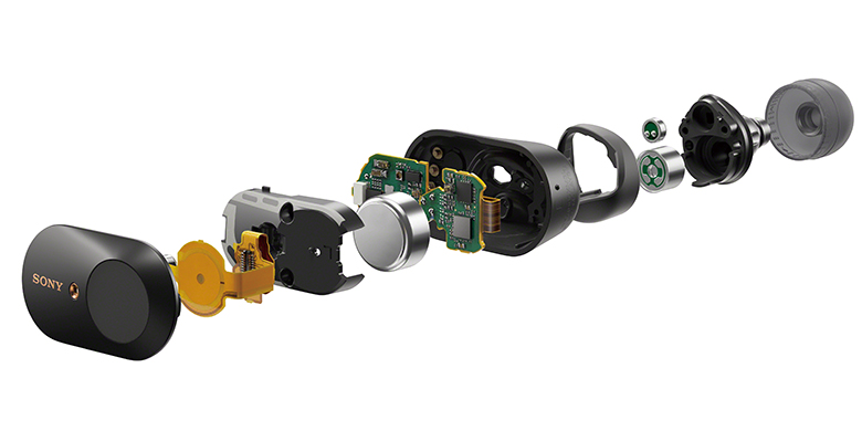 画像: 内部構造のイメージ。本体外側にフィードフォワードマイク(写真の左端)、内側にフィードバックマイク(右から三つめ)が配置されている。