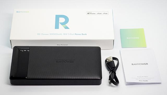"""画像: RAVPower モバイルバッテリー""""RP-PB172"""" 本体 Micro USBケーブル 取扱説明書"""
