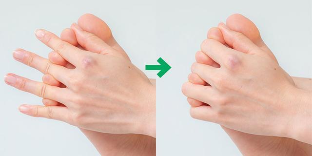 画像: 握りを1つずつ小指側にずらす▶︎足の小指を手の薬指と小指ではさむ