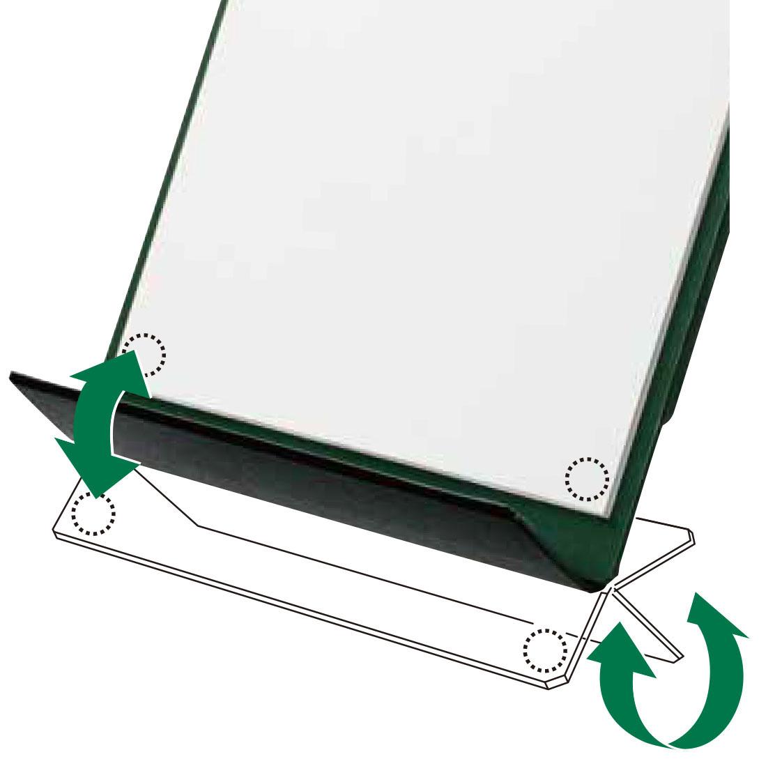 画像: 紙の下側を固定し、書類のめくれを防ぐ「底面フラップ」