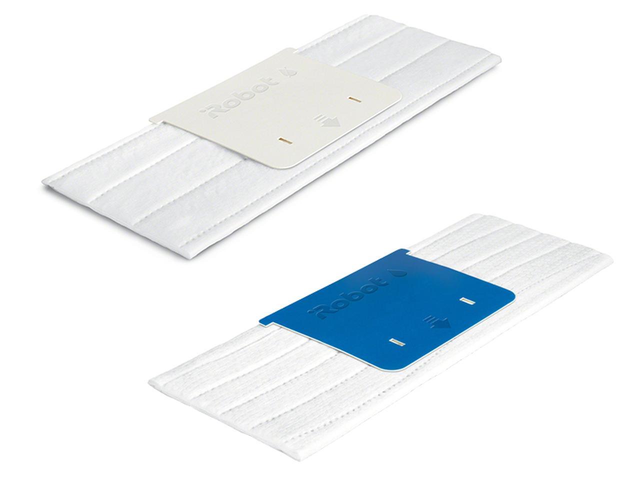 画像: 水拭きと乾拭きのそれぞれに、「洗濯可能」「使い捨て」のパッドが用意される。各パッドの違いは、本体と接する部分の切り欠きで判別され、パッド装着時に自動で清掃モードが設定される。