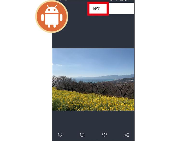 画像: 保存したい写真を表示させて、右上のメニューアイコンをタップして「保存」をタップしよう。