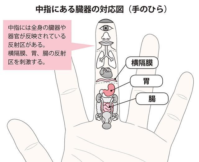 画像1: 【逆流性食道炎のツボ】わずか1分でつらい胸やけを改善する「中指」の反射区と押し方