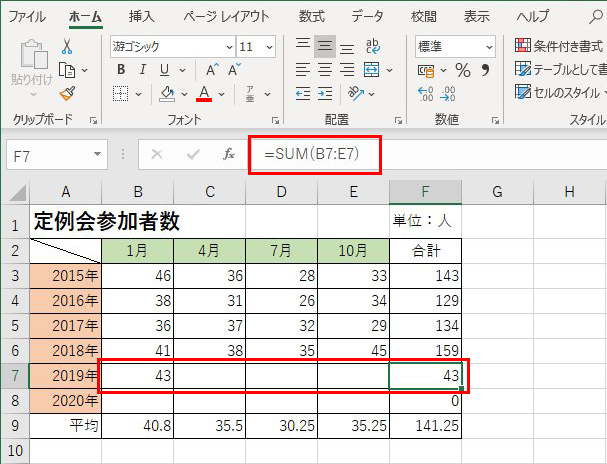 画像: 先に、2019年の合計欄(F7)に「=SUM(B7:E7)」を設定しておく。もちろん、上のセル(F6)をコピーすればいい。そして、1月の欄に数字を入れると、その数字が合計として表示される。
