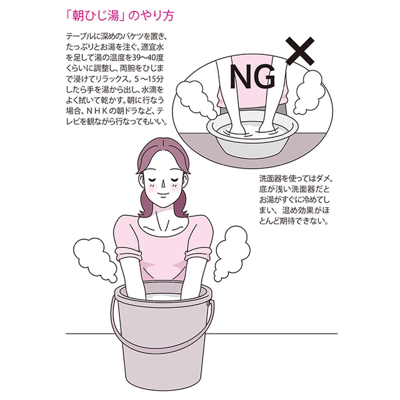 画像: バケツのお湯にひじまで浸ける