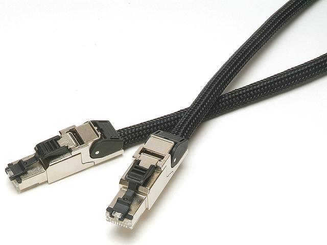 画像: PCトリプルCを採用したLANケーブル。プラグはテレガードナー製、絶縁材にはフッ素樹脂、シールドには銅箔を使うぜいたくな仕様。