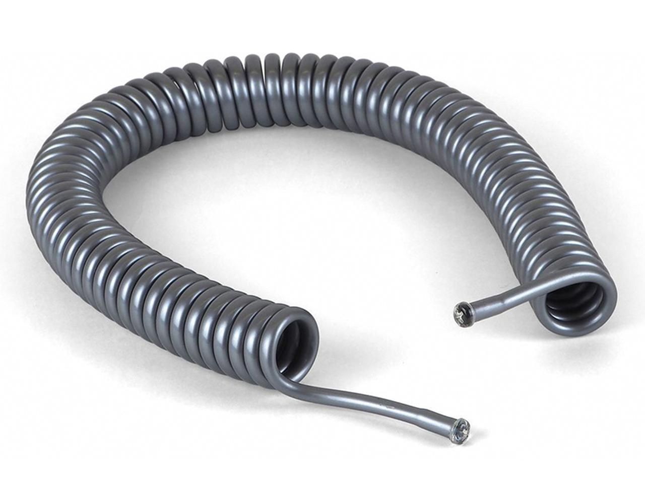 画像: ケーブルを床の振動から守るホルダー。螺旋状のチューブに特殊ダンピング溶液(餅のように粘性を持った液体)を封入。