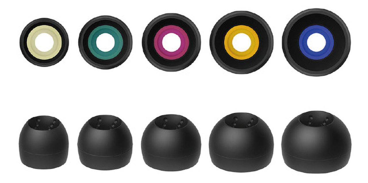 画像: 放射状に配置したドット加工を内部に施すことで音の乱反射を低減し、クリアな音質を実現するイヤチップ。5種類のサイズ(S/MS/M/ML/L)から選べる。