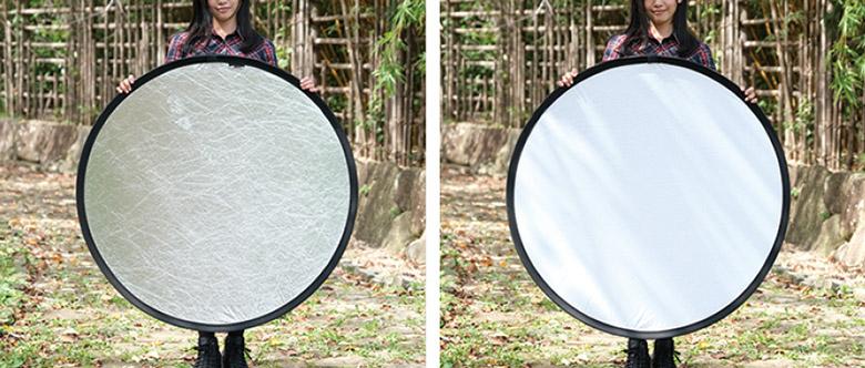 画像: 左が銀レフ、右が白レフ。銀レフのほうが反射率は高いが、照射する範囲は狭くなる。