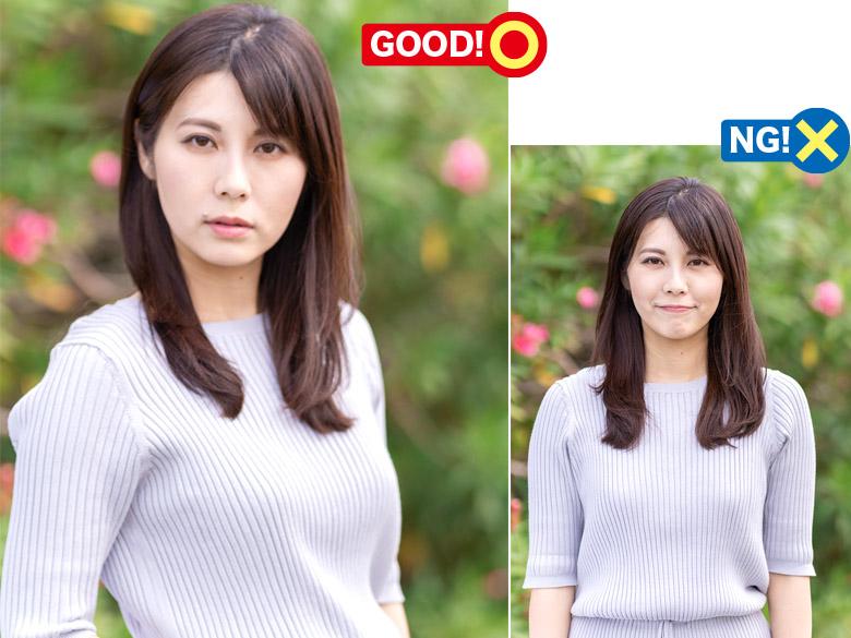 画像: 体も顔も正面を向いていると、証明写真的な雰囲気になりがち。顔は正面、体は斜めだとバランスが取りやすくなる。